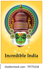 A poster with a traditional Kathakali dancer from India. Kathakali is a theater  dance drama originated in South India