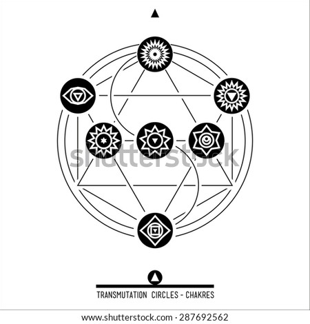 Poster Transmutation Circles Chakras Sacred Geometry Stock Vector