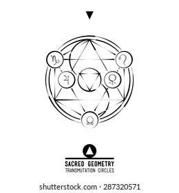 Poster Transmutation circles.Sacred geometry set of trendy vector Alchemy symbols collection  background. Religion, philosophy, spirituality, occultism, science, magic. Design and tattoo elements.