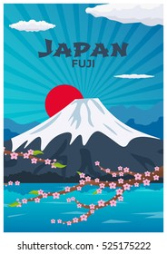 Poster Travel to Japan. Mountain. Sakura japan cherry branch with blooming flowers vector illustration. Banner. Vector illustration
