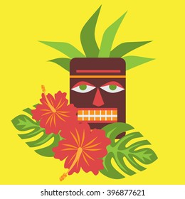 Poster with tropical palm leaves and flowers hibiscus flower Hawaii with tiki mask, exotic summer flower background  vector