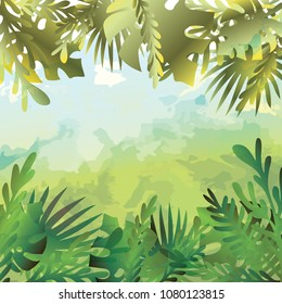 Poster with tropical watercolor theme vector art illustration.