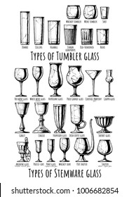 Poster with tumbler and stemware glasses types infographic. Illustration in ink hand drawn style.