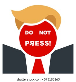 Poster with a type of American politician, hinting at appearance of President Trump. The red button instead of a head has a facial label 'do not press!' Inverted letter alludes to the Soviet font.