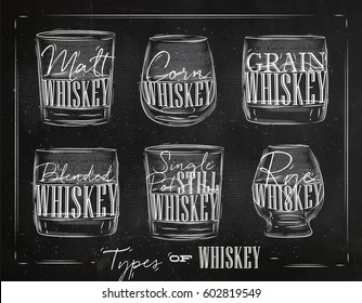 Poster types of whiskey with glasses lettering malt, corn, grain, blended, single post still, rye drawing with chalk on chalkboard background