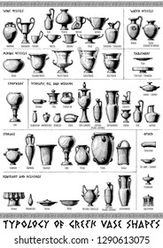 Poster with Typology of Greek vase shapes. Illustration in vintage engraving style.