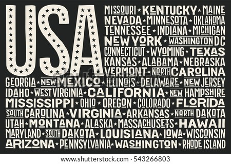 7e9972ca0471 Poster of United States of America flag with states and capital cities.  Print for t