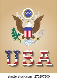Poster of United States of America - USA, with coat of arms