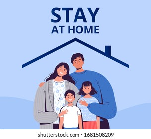 Poster urging you to stay home to protect yourself from the new COVID-2019 coronavirus. A family with children is sitting in quarantine at home. - Shutterstock ID 1681508209