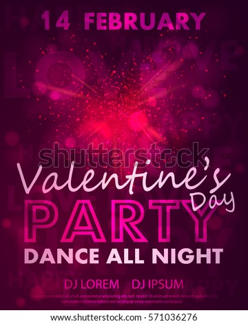 Poster Valentines Day Party Dance Template Stock Vector Royalty
