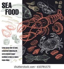 Poster with variants of sea food. Vector illustration art. Black, white and red. Old engraving. Vintage. Template for the cover or signboard of shop, market, packaging design, advertising.