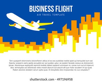 Poster vector template with plane taking off and city skyline. Banner for air travel, delivery or logistic company. Flat style illustration with place for title, slogan and text.