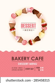 Poster vector template with sweets. Advertising for bakery shop or cafe.