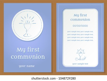 """Poster with vectorized drawing of a sacred chalice and divine host with the phrase """"My first communion"""" written. Vector."""