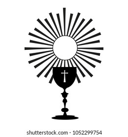 Poster with vectorized drawing of a sacred chalice and divine host