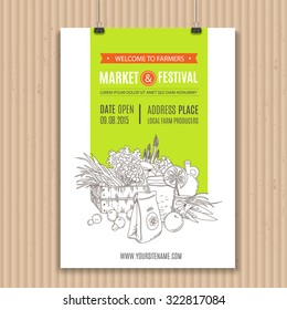 Poster with vegetables and fruits, organic food and drink. Perfect design for farm market advertising, farming industry and bio product business. Modern identity for bio products and agriculture.