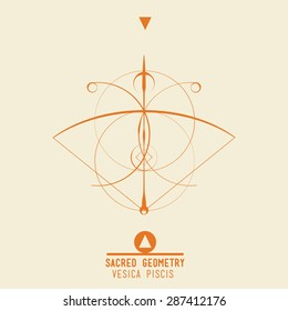 Poster Vesica Piscis. Sacred geometry set of trendy vector Alchemy symbols collection on grunge background. Religion, philosophy, spirituality, occultism, science, magic. Design and tattoo elements.