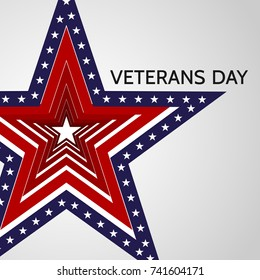 Poster for Veterans Day in the USA November 11 Star with colors of the national flag of the United States of America Patriotic poster or postcard on the holiday American symbol Icon Background Vector