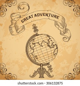 Poster with vintage globe and ribbon. Retro hand drawn vector illustration