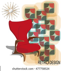 Poster of vintage interior design. Retro style elements.