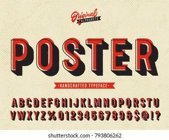 'Poster' Vintage Sans Serif Alphabet with Offset Printing Effect. Retro Textured Typeface. Vector Illustration.