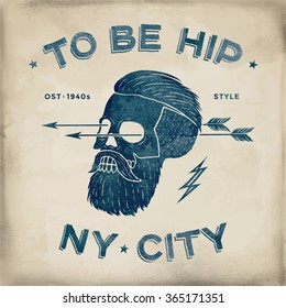 Poster of vintage skull hipster label. Retro old school set. Vector Illustration with typographic for t-shirt prints