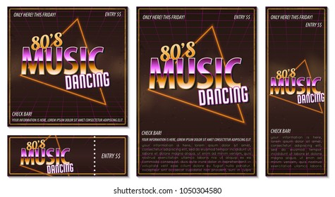 The poster in vintage style on a retro party banner, invitation, flyer, advertising. Vector illustration of retro disco and dance. Other variations you can find in my portfolio.