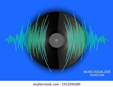 Poster of vinyl record and pulse music wave. Vector colorful media technology. Modern audio banner