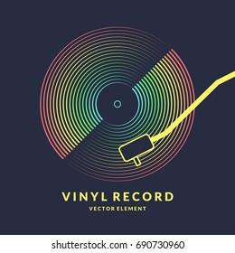 Poster of the Vinyl record. Vector illustration music on dark background.
