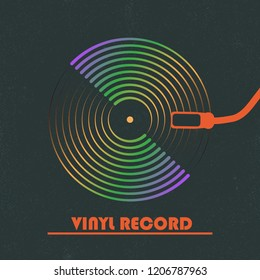 Poster of the Vinyl record. Vintage gramophone disc.