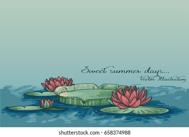 poster with water lilies in water and place for text, can be used as summer party invitation, sketch  vector illustration