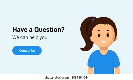 Poster of website page with smiling operator of call center proposing help in resolution of any question with button contact us flat vector illustration. Online technical support concept