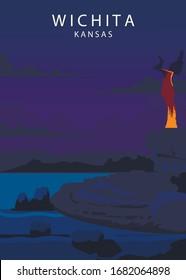 Poster Wichita landscape. Wichita vector illustration.