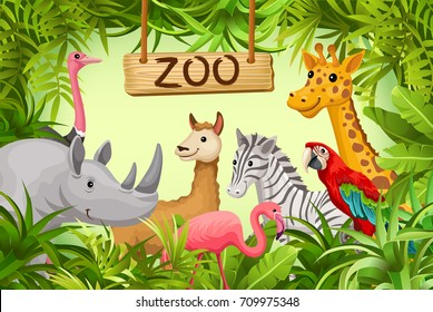 Poster with wild animals of savanna and desert. Cover for books and games.