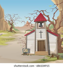 Poster in wild West style. Old wooden Church, bare tree, stand with ads on wanted criminals. Architecture style of wild West. Card on theme of religion. Vector cartoon close-up illustration