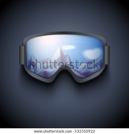 f145ab6e63e Poster of Winter goggles with big glass and reflecting the snowy mountains.  Ski and snowboard sport and recreational. Vector isolated on dark  background - ...