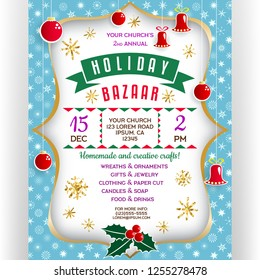 Poster for winter holiday bazaar. Vector invitation flyer with paper cut effect border. Christmas-tree decorations, glitter snowflakes and holly. Vertical banner for event template design.