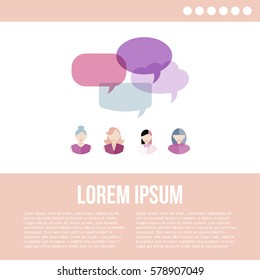 Poster of women icons with colorful quote bubbles with place for your text. Female avatars with speech bubbles. Vector.