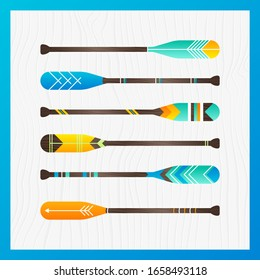 Poster with wood vector oak boat. Sport paddle with wooden background. Decor for home wallpaper, post, add, sale. Vector Illustration