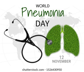 Poster of World Pneumonia Day, banner with the image of the lungs with a grass texture and a phonendoscope (stethoscope) on a background of a world map. Vector illustration