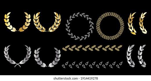 Poster with wreaths black background. Ribbon banner for decoration design. Winner award. Stock image. EPS 10.