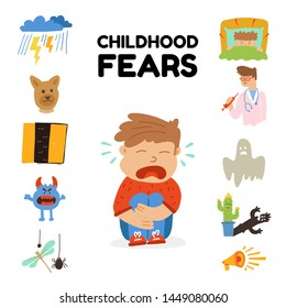 poster written childhood fears lettering cartoon flat. Сauses children's fears can be both made-up, existing. children afraid natural phenomena, fictional monsters, fairytale characters, loud sound