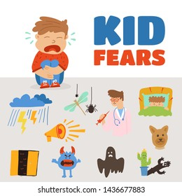 Poster written kid fear lettering cartoon flat.  seated boy cries for fear doctor, spider, thunderstorm, loud sound, skeletons in  closet, ghosts, shadows. child cannot fall asleep from fear.