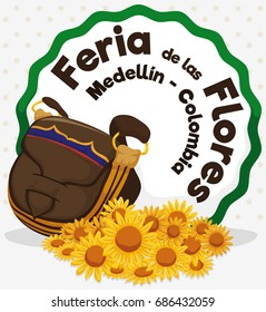 Poster with yellow daisies and carriel or satchel, ready to be used in Festival of the Flowers celebration (written in Spanish).