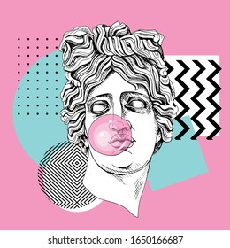 Poster in a Zine Culture style. Apollo Plaster head statue with a pink bubble gum. Humor poster, t-shirt composition, hand drawn style print. Vector illustration.