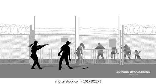 Poster Zombie apocalypse. Silhouettes of policeman and dead peoples on prison background. Video game shooter. Horror thriller. Nightmare monsters. Vector ilustration