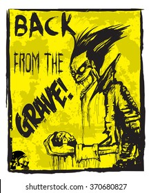 Poster Zombie Back from grave, hand drawn grunge, comic illustration2/ Fully editable eps10