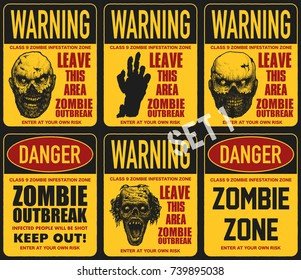 poster zombie outbreak sign board zombie stock vector royalty free