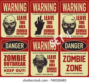 Poster zombie outbreak. Sign board with zombie, words Zombie Outbreak Leave This Area. Vector illustration
