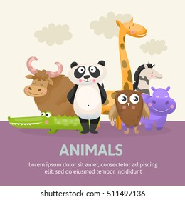Poster with zoo animals vector